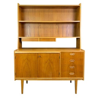 1960s Scandinavian Modern Teak Secretary Bookshelf For Sale