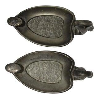 Vintage 1930s Art Deco Cast Metal Swan Ashtrays -Catch- ll Bowls -Trinket Bowls For Sale