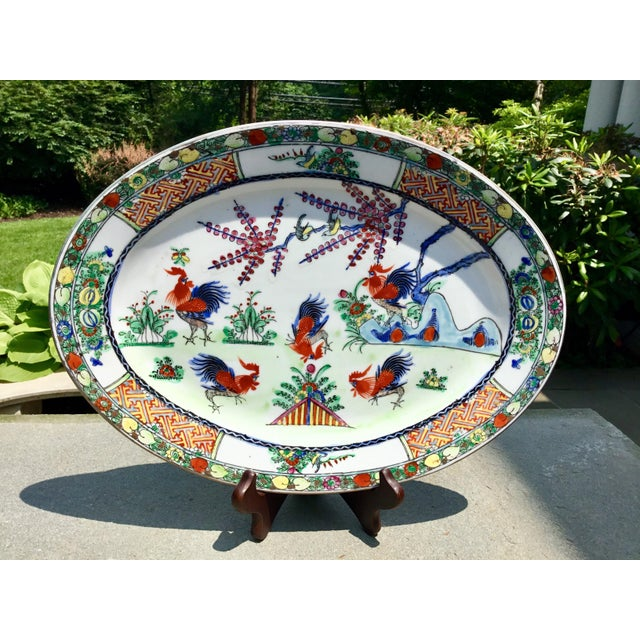 1940s Vintage Chinoiserie Rooster Platter For Sale In New York - Image 6 of 9
