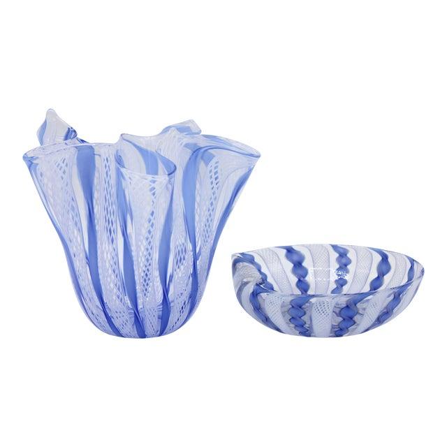 Mid Century Italian Murano Glass Blue Latticino Large Handkerchief Vase and Murano Zanfirico Latticino Glass Dish - Set of 2 For Sale