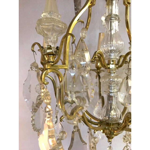 French French Bronze & Rock Crystal Chandelier For Sale - Image 3 of 7