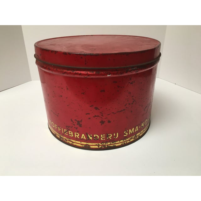 Vintage European Coffee Shop Red Display Tin For Sale - Image 5 of 7