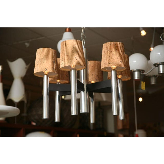 Modern Feldman Lamp Co. Chrome Tubular Chandelier With Cork Shades. - Image 5 of 11