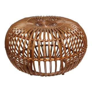 Franco Albini Woven Rattan Pouf For Sale