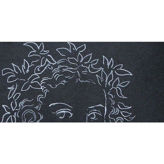 "2020s Sarah Myers ""Woman Crowned With Leaves"" White Charcoal Drawing For Sale - Image 5 of 8"