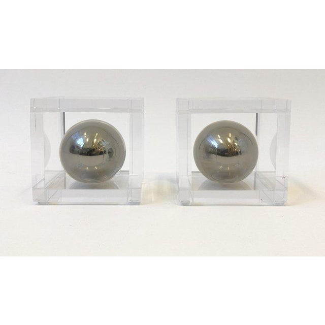 2010s Pair of Lucite and Chrome Bookends by Charles Hollis Jones For Sale - Image 5 of 7