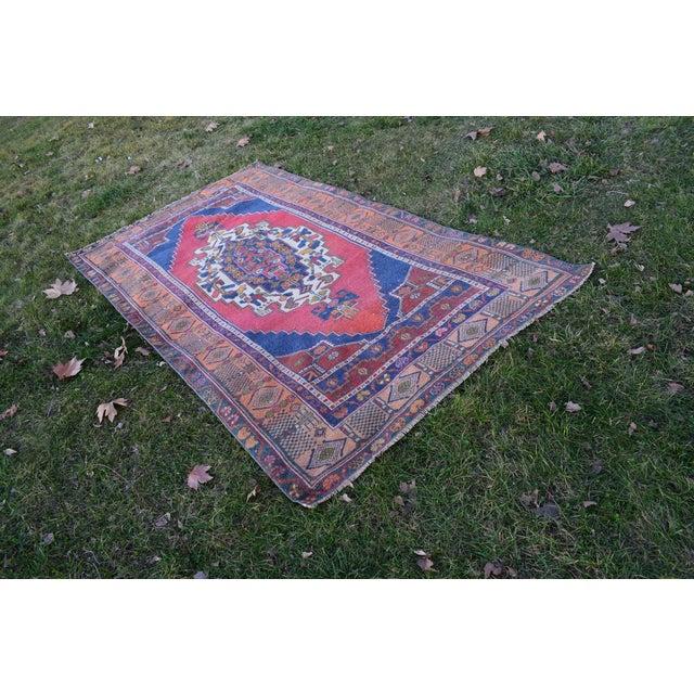 Blue Color Vintage Oushak Rug, Woven Tribal flat rugs for Nursery, Modern Outdoor Carpet for kids room 4'3'' x 7'10''...