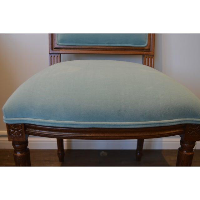 2010s Custom Order Louis XVI Style Square Back Dining Chair Upholstered in Kravet's Crypton Washable Velvet For Sale - Image 5 of 11