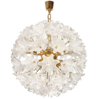 Murano Brass and Glass Flower Ball Chandelier For Sale