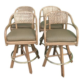 McGuire Rattan and Brass Barstools-Four For Sale
