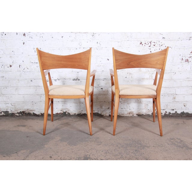 Paul McCobb for Calvin Mid-Century Modern Sculpted Walnut Bow Tie Armchairs - a Pair For Sale In South Bend - Image 6 of 9
