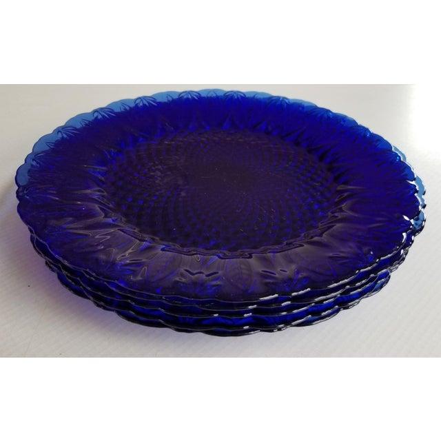 French Leaf Design Cobalt Blue Dinner Plates - Set of 5 For Sale - Image 4 of 5