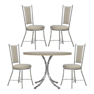 Vintage Hollywood Regency Modern Chrome Faux Bamboo Dining Set Table 4 Chairs For Sale