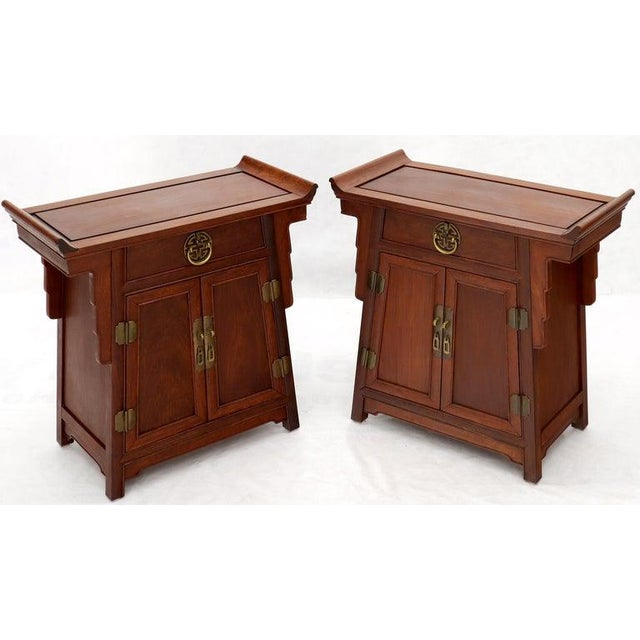 Pair of Asian Solid Teak Pyramid Shade Rolled Edges End Side Tables For Sale - Image 10 of 13