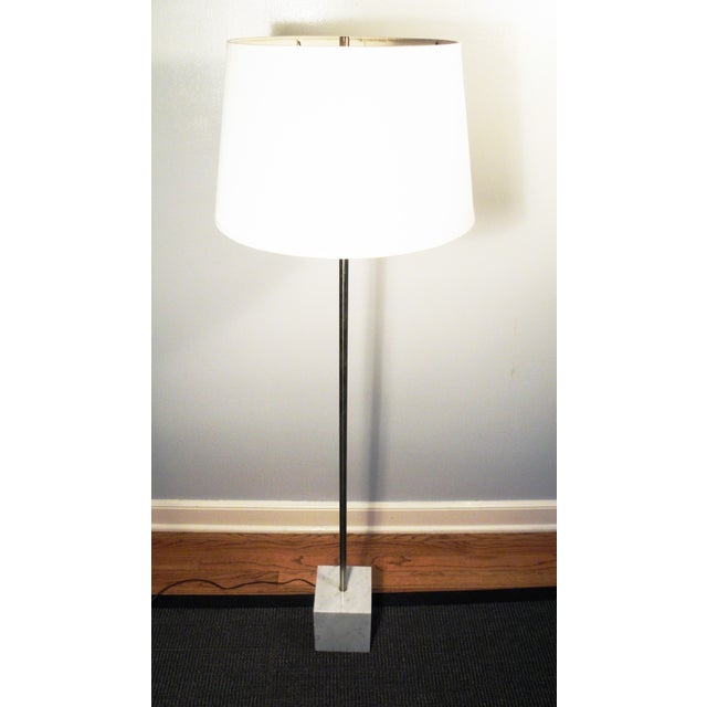 Mid-Century Chrome & Marble Pencil Floor Lamp - Image 3 of 8
