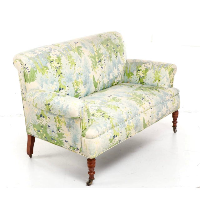 French 1940s Floral Upholstered Settee For Sale - Image 12 of 12