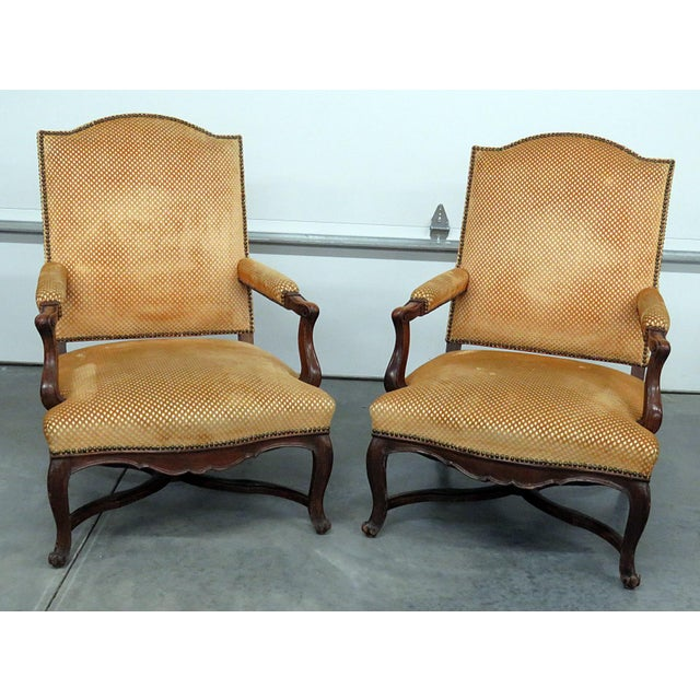 Brown Pair of Country French Arm Chairs For Sale - Image 8 of 8
