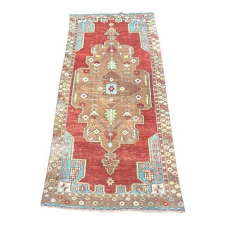 Handmade Traditional Turkish Oushak Aztec Red and Brown Wool Area Rug - 4′2″ × 9′1″ For Sale