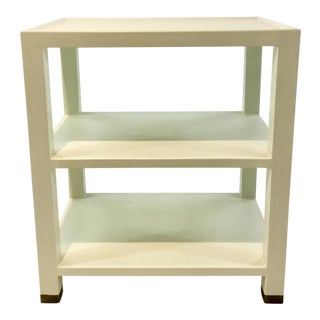 Made Goods Modern White Faux Linen 3-Tiered Side Table For Sale