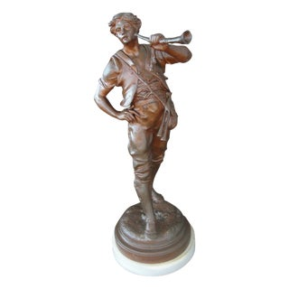 Emile Picault Spelter Statue Boy With Horn