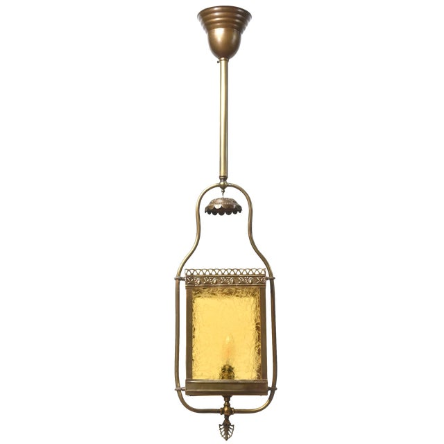 Victorian Harp Lantern with Amber Glass For Sale