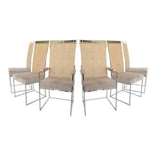 Set of Six High Back Cane Dining Chairs by Milo Baughman for Thayer Coggin For Sale