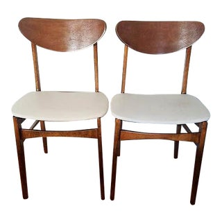 1960s Danish Modern White Vinyl and Wooden Side Chairs - a Pair