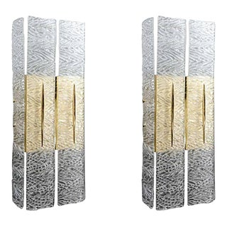 Murano Textured Glass Sconces - a Pair For Sale