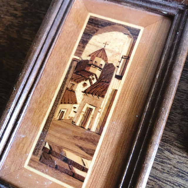 1970s Vintage South American Village Tiny Framed Marquetry Art - a Pair For Sale - Image 5 of 7