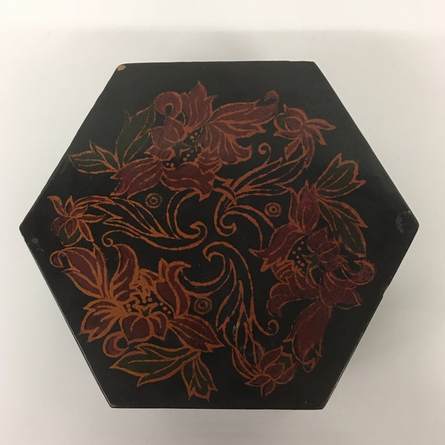Vintage Black Lacquer Hexagon Box - Image 2 of 11