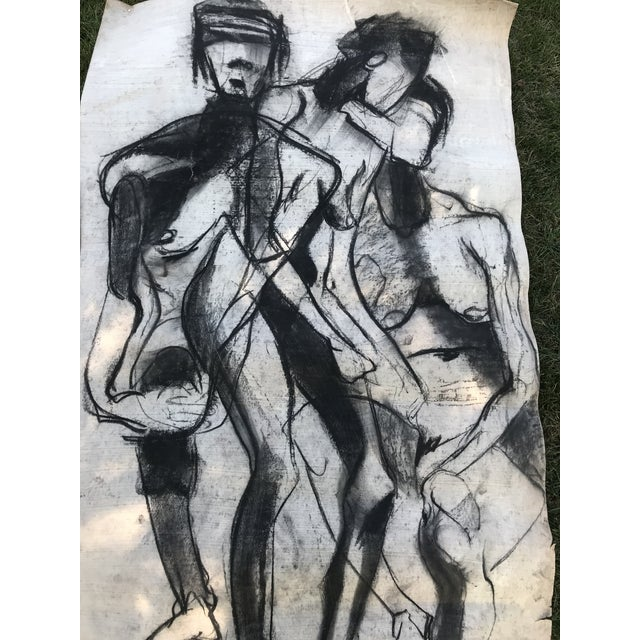 Vintage large mid-century abstract chalk drawing. The piece depicts a nude man and woman. Amazing Vintage Find Wonderful...