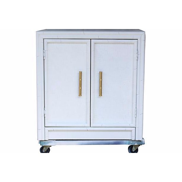 Faux-Bamboo White-Painted Cabinet - Image 1 of 7