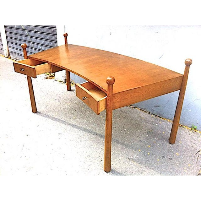 "Contemporary Jean Royère Documented Rarest Oak Curved Desk, Model ""Quille"" For Sale - Image 3 of 6"