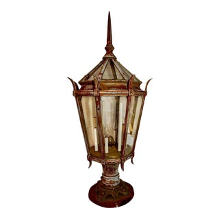 Large 1920s Outdoor Cast Iron Post Light For Sale