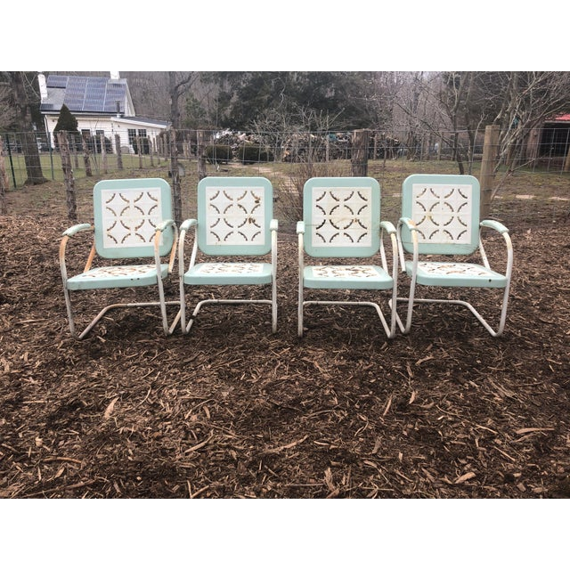 Country Garden Arm Chairs in Light Turquoise and White - Set of 4 For Sale - Image 12 of 12