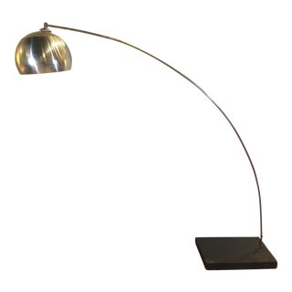 Silver-Plated Italian Mid-Century Modern Arc Floor Lamp For Sale