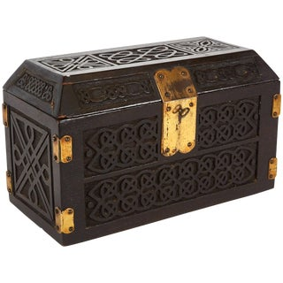 Arts and Crafts Box With Brass Hinges and Lock From England Circa 1880 For Sale