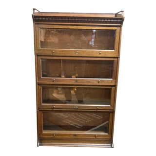 Antique Oak Barrister Bookcase For Sale