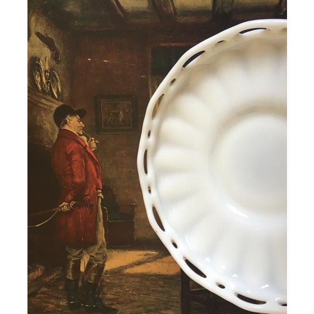 Lattice Milk Glass Large Serving Tray, Mid Century - Image 4 of 8