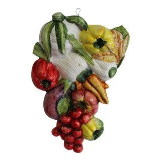 Vintage Italian Ceramic Vegetable Cluster Wall Art For Sale