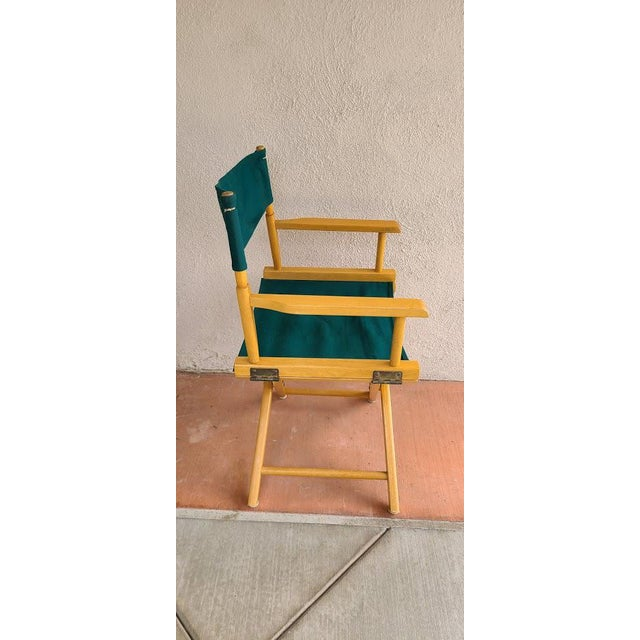 Directors chair, 4 available for purchase. Vintage, quality made, solid wood, light wood (yellow) color with green burlap,...