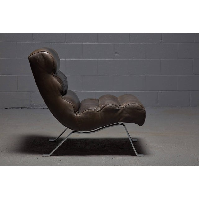 Leather and Steel Lounge Chair in the Style of Arne Norell For Sale - Image 10 of 10