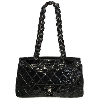 Chanel Black Patent Leather 2 Way Classic Flap Shoulder Bag For Sale
