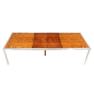 Chrome Burl Wood Dining Conference Table with Two Leaves For Sale