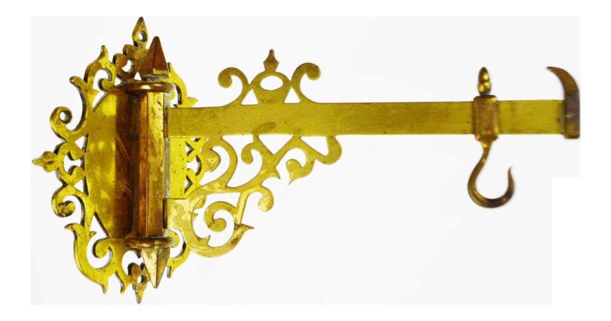 Vintage Solid Brass Swing Arm Wall Bracket Plant Hanger With Adjustable Hook