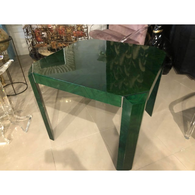 Vintage Hollywood Regency Green Faux Malachite Chrome Dining Game Table For Sale - Image 11 of 11