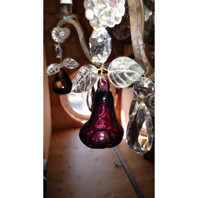 Glass 1840s Antique Iron Baguès French Cut Glass Dangles Chandelier For Sale - Image 7 of 13