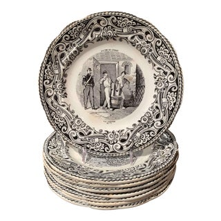19th Century French Napoleon III Black and White Plates From Gien, Set of 8 For Sale