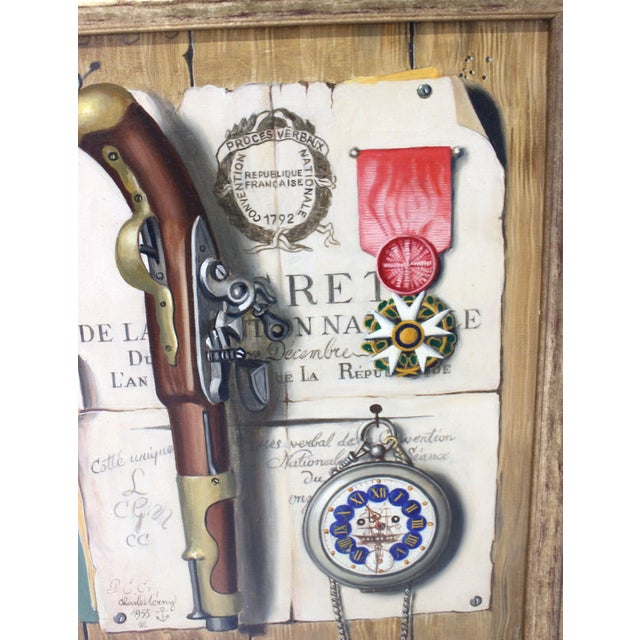 1950s Mid-Century 1955 Charles Cerny Trompe l'Oeil Oil Painting For Sale - Image 5 of 13