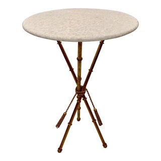 Italian Gilt Faux Bamboo Metal and Marble Side Table For Sale